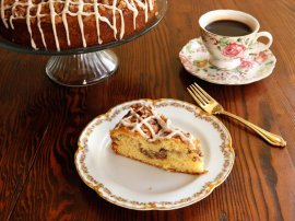 A traditional recipe and history for Sour Cream Coffeecake from food historian Gil Marks on The record home