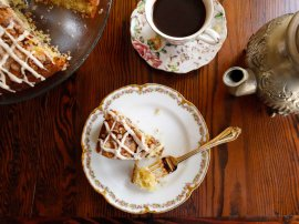 A traditional dish and record for Sour Cream Coffeecake from meals historian Gil Marks regarding History cooking area