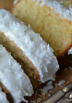 Fluffy moist pound cake with triple coconut taste