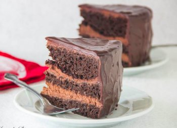 For severe chocolate enthusiasts! This decadent chocolate cake with chocolate mousse filling may be the thing to satisfy your chocolate craving!