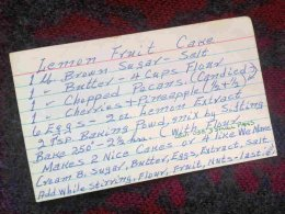 Linda's dad published the recipe for lemon fruitcake in the front with this list card.