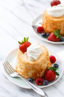 Mini Angel Food Cakes with Fresh Whipped Cream & Berries