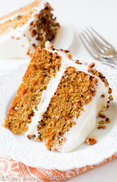 My Favorite Carrot Cake! Sally's Baking Addiction | Simple and moist two-layer carrot cake with pecans and cream cheese frosting.