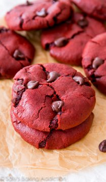 Sally's Baking Addiction Soft-baked Red Velvet Chocolate Chip Cookies. Created from scrape!