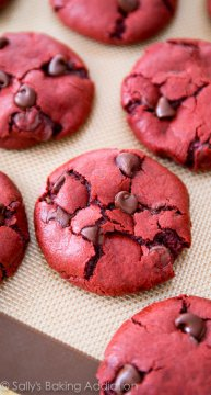 Sally's Baking Addiction Soft-baked Red Velvet Chocolate Chip Cookies. Produced from scratch!