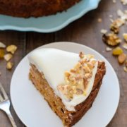many moist healthier carrot cake dish with thin cream cheese frosting