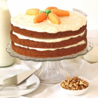 This 100% Whole Wheat Carrot Cake is incredibly moist and nobody will believe it's whole grain! From texanerin.com.